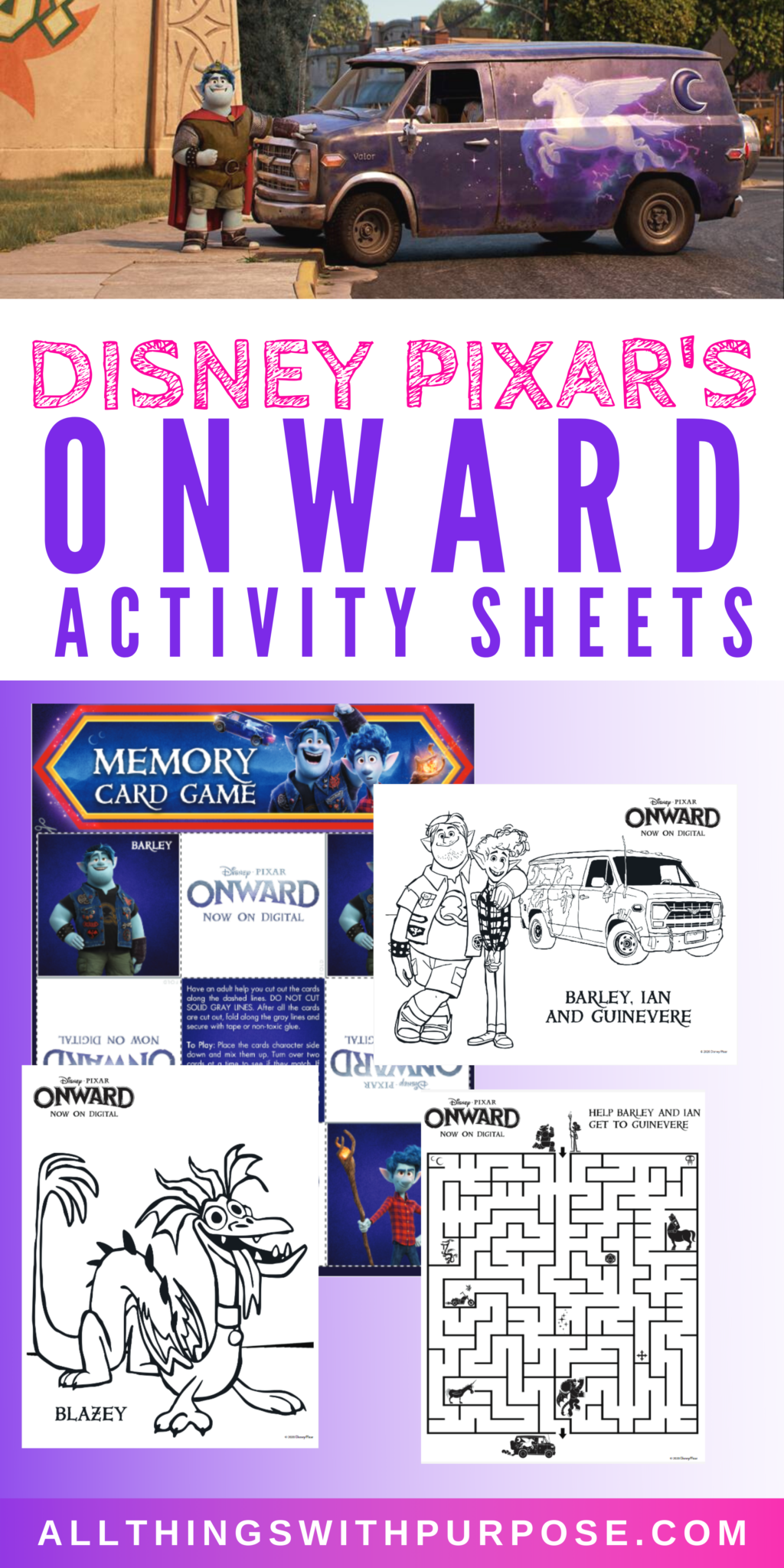 Disney Pixar's Onward Free Activity Sheets and Games in