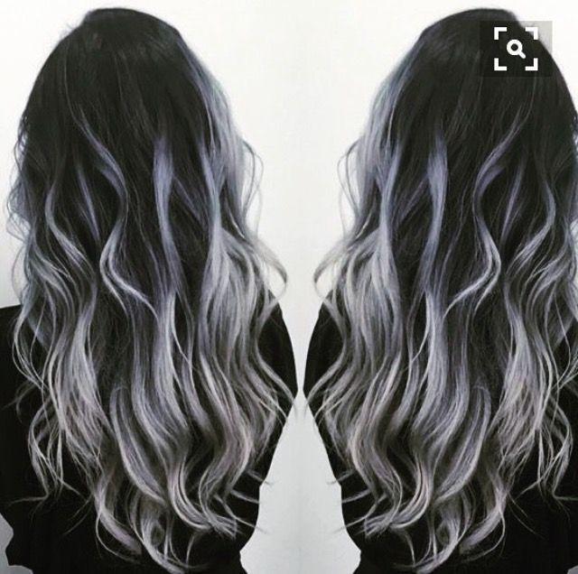 Black To Gray Silver Balayage Balayage Hair Hair Highlights Grey Ombre Hair