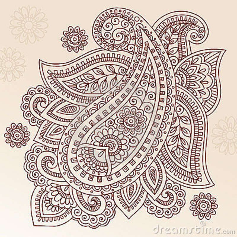 Ornate Henna Paisley Doodle Vector Design Elements Wall Mural ...