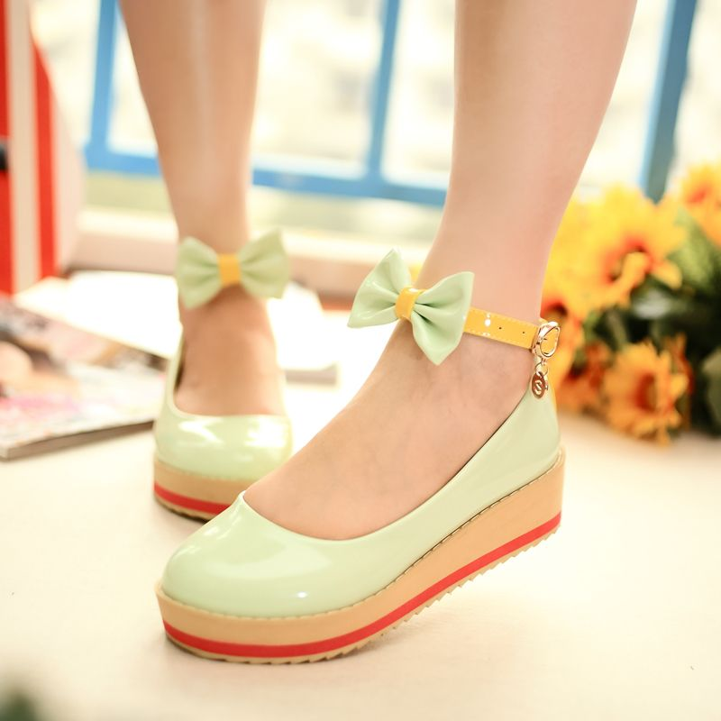 Womens Creepers Wedge Heels Pumps Slip on Bowknot Ladies Court Shoes Plus Size