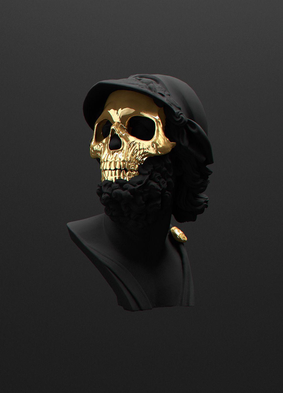 All Black But Gold Series Part 1 Andre Larcev Skull Art Sculpting Sculpture Art