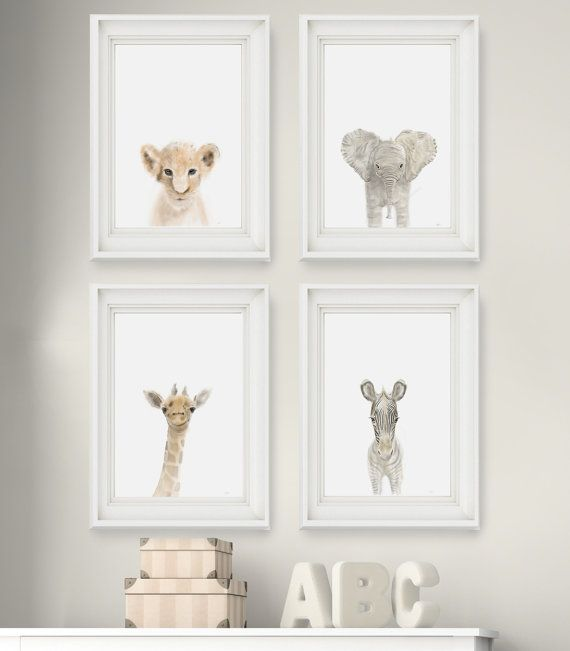 Safari Nursery Prints Set Of 6 Wall Art Animal