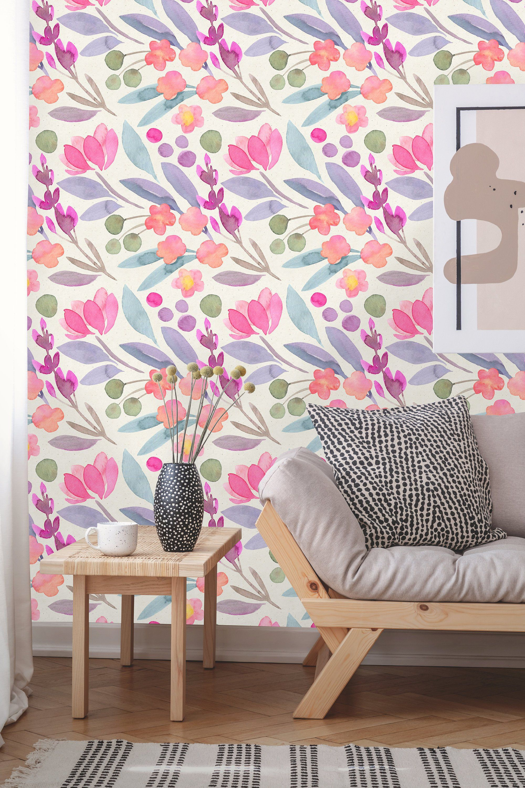 Removable Wallpaper Peel And Stick Watercolor Wallpaper Etsy Floral Wallpaper Removable Wallpaper Watercolor Wallpaper