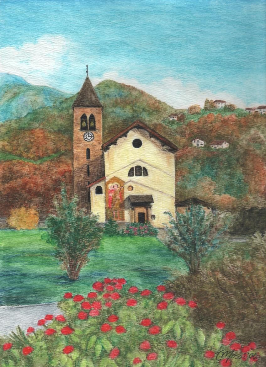 Full Color Print Of An Original Watercolor Painting A Church In Giubiasco Switzerland
