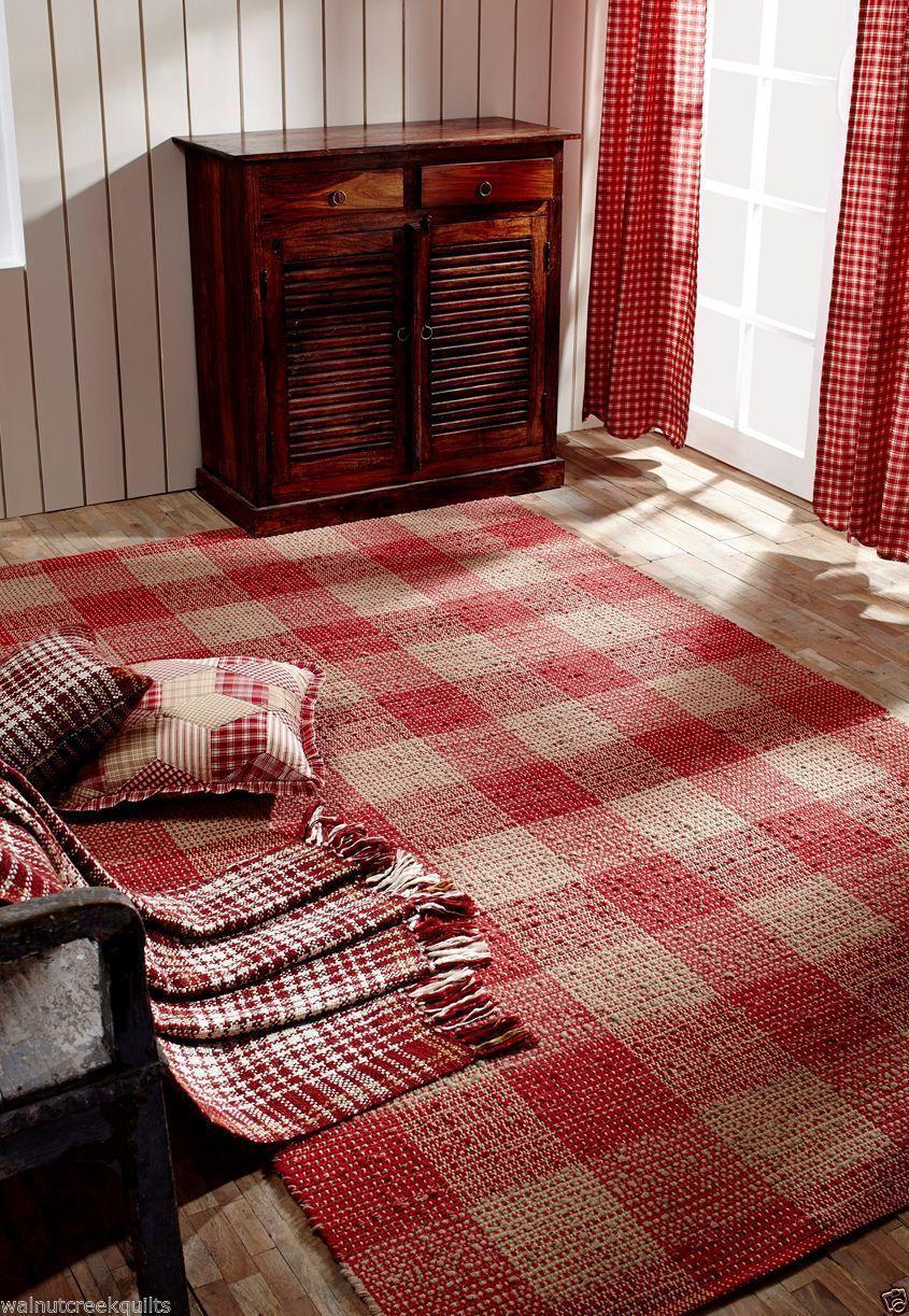 Breckenridge Rustic Country Farmhouse Red Plaid Area Rug Warm Wool