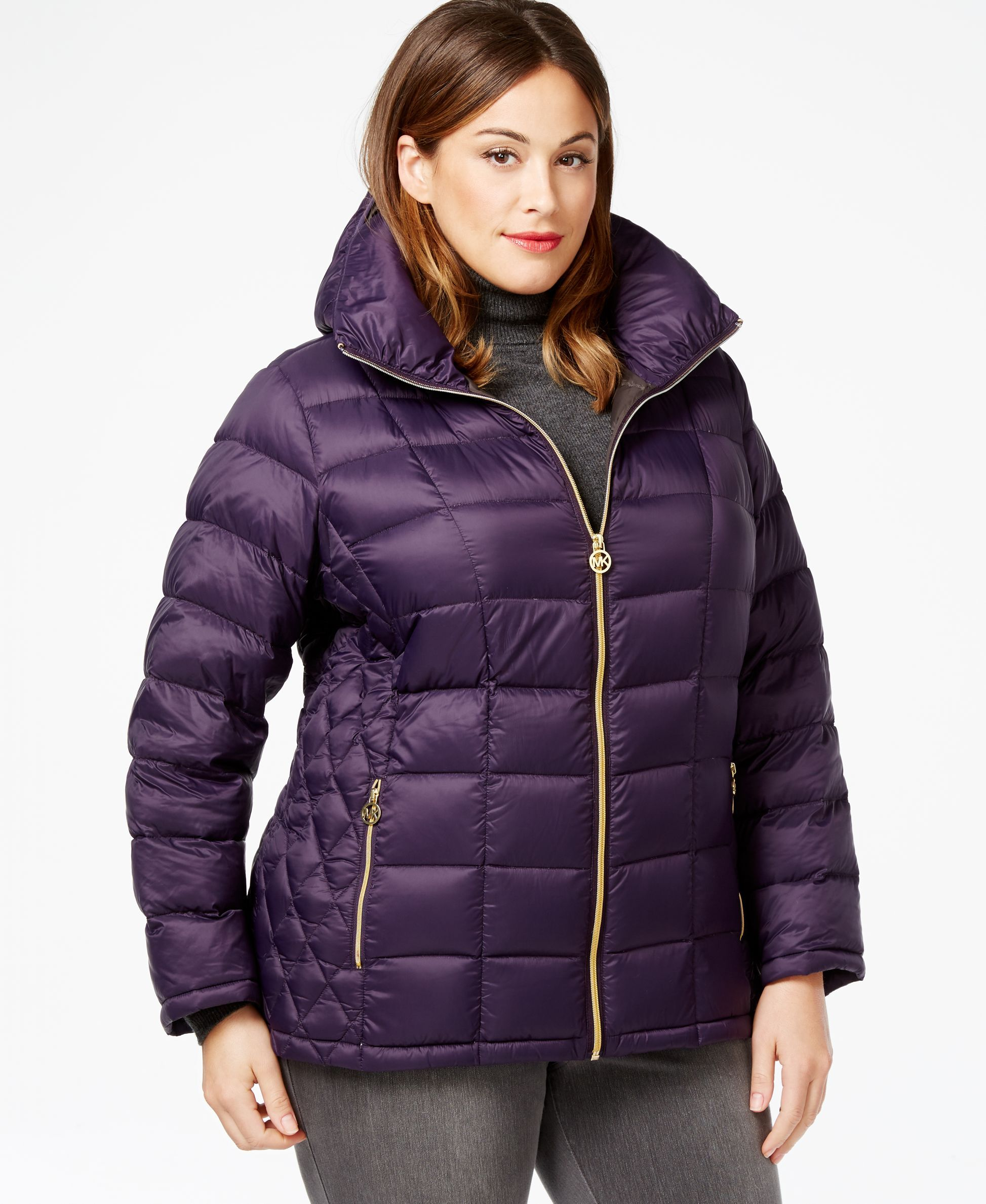 ef3e31f1045 Michael Michael Kors Plus Size Contrast Quilted Puffer Coat ...
