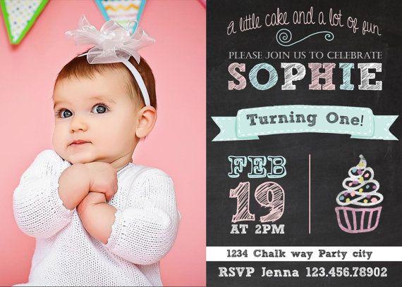 1st birthday Photo Card Custom vintage chalkboard girl first birthday banner cupcake photo card ...