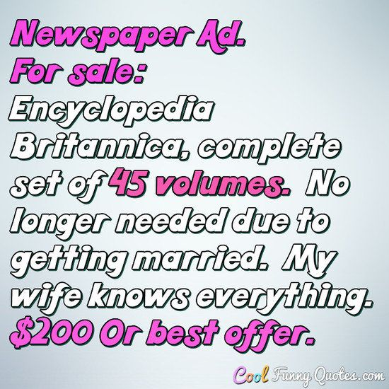 Love Quotes For Wife Newspaper Adfor Sale Encyclopedia Britannica Complete Set Of 45 .