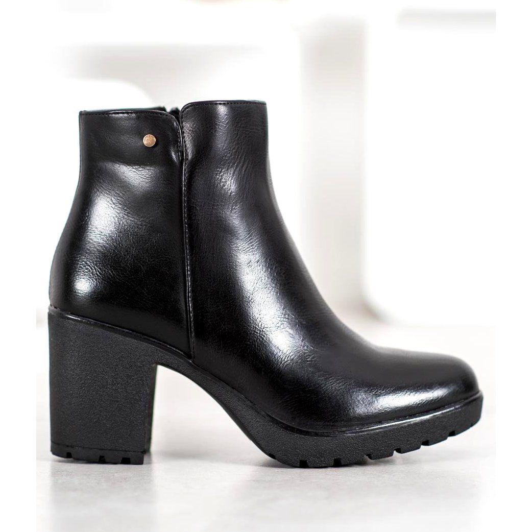 Bella Paris Botki Z Eko Skory Czarne Boots Ankle Boot Shoes