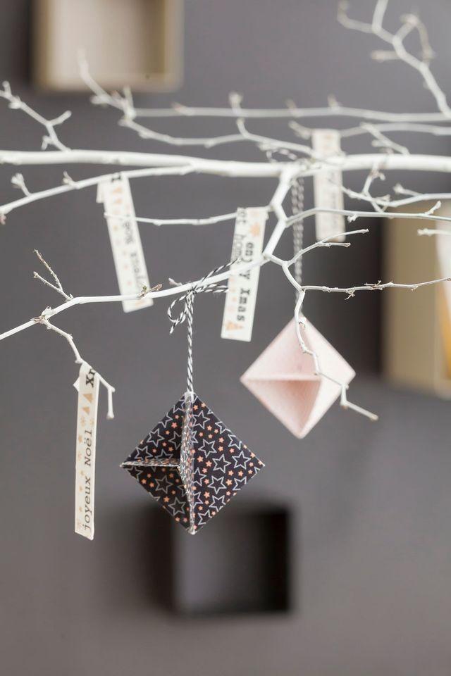 d coration de no l faire soi m me id es diy origami de no l origami et no l. Black Bedroom Furniture Sets. Home Design Ideas