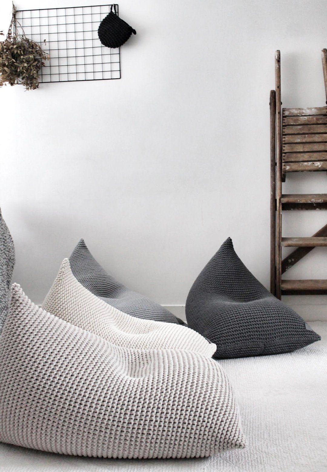 knitted bean bag linen in 2020  bean bag living room