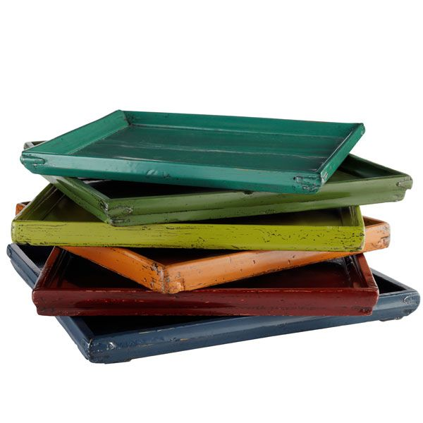 Colorful Wooden Trays Decorative Table Accents From