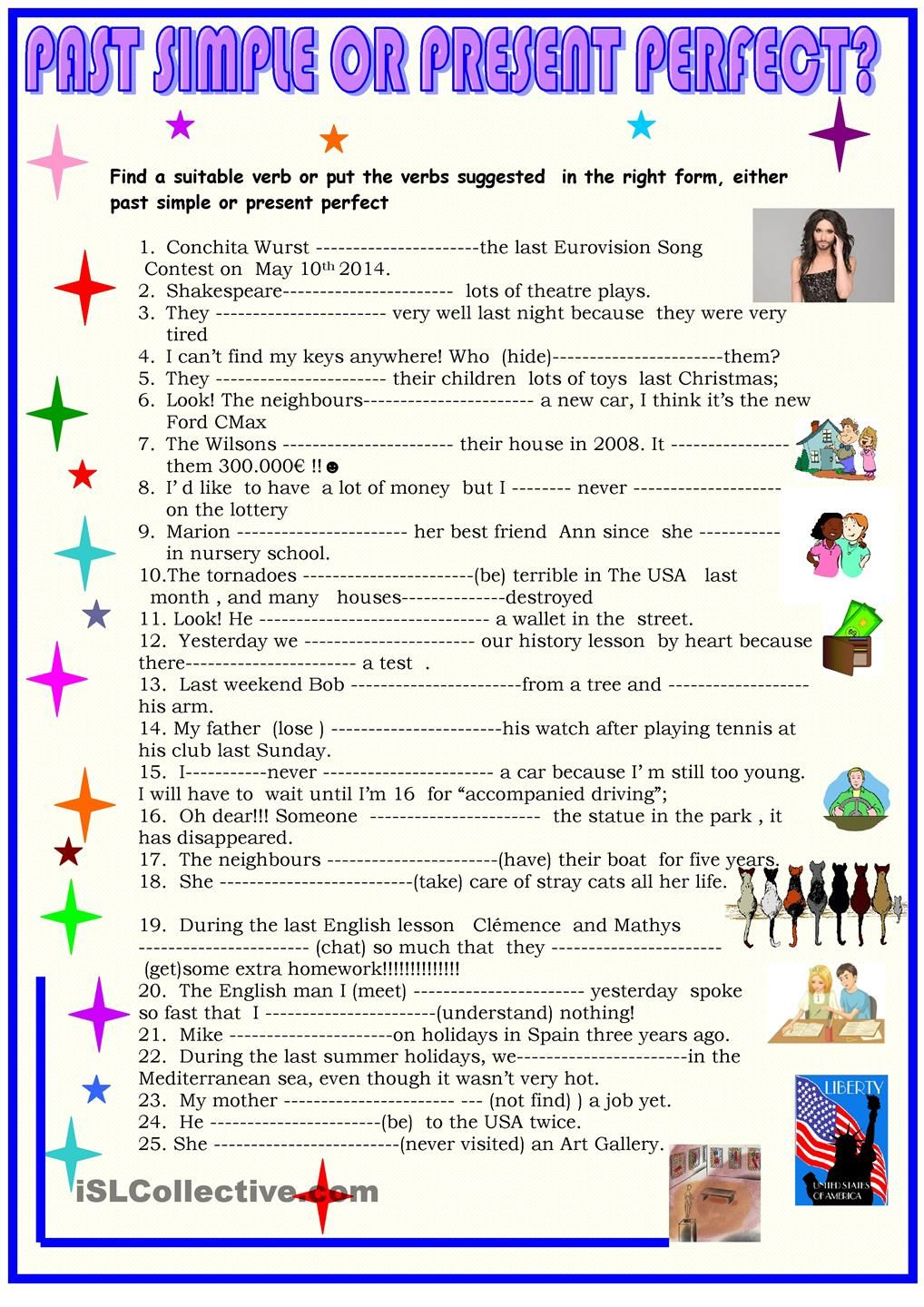 Esl Present Perfect Worksheet Printable