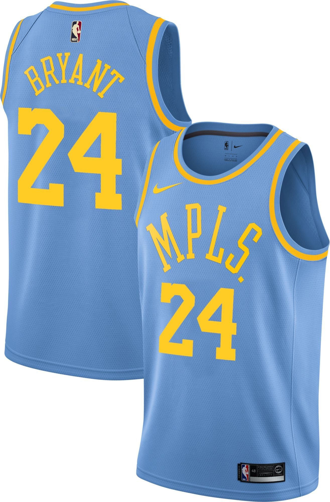 2470b53294d Nike Men s Los Angeles Lakers Kobe Bryant  24 Light Blue Dri-FIT Swingman  Jersey
