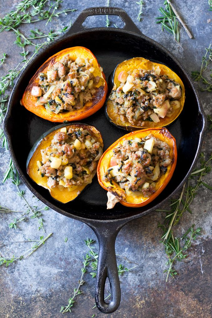 Caramelized Onion Apple And Sausage Stuffed Acorn Squash Paleo Whole30 Recipe With Images Acorn Squash Recipes Sausage Stuffed Acorn Squash Food