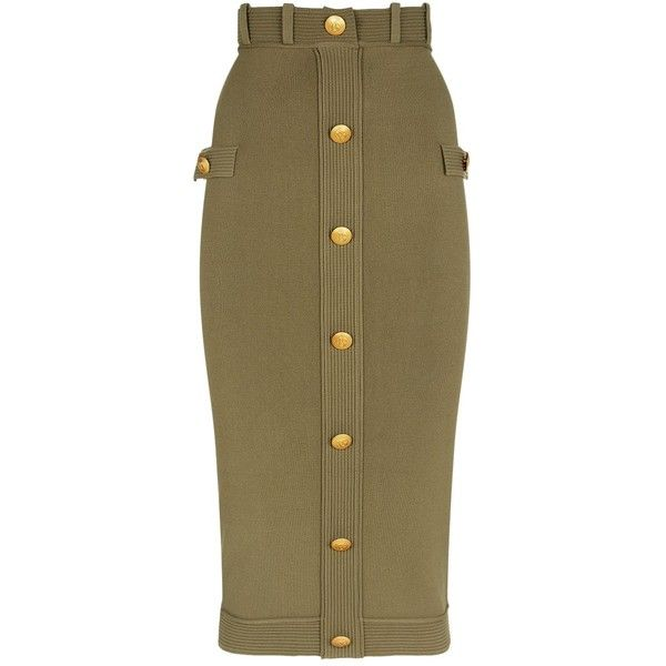 63943d606a000d Pierre Balmain Buttoned Pencil Skirt ($555) ❤ liked on Polyvore featuring  skirts, military skirts, midi skirt, button midi skirt, button pencil skirt  and ...