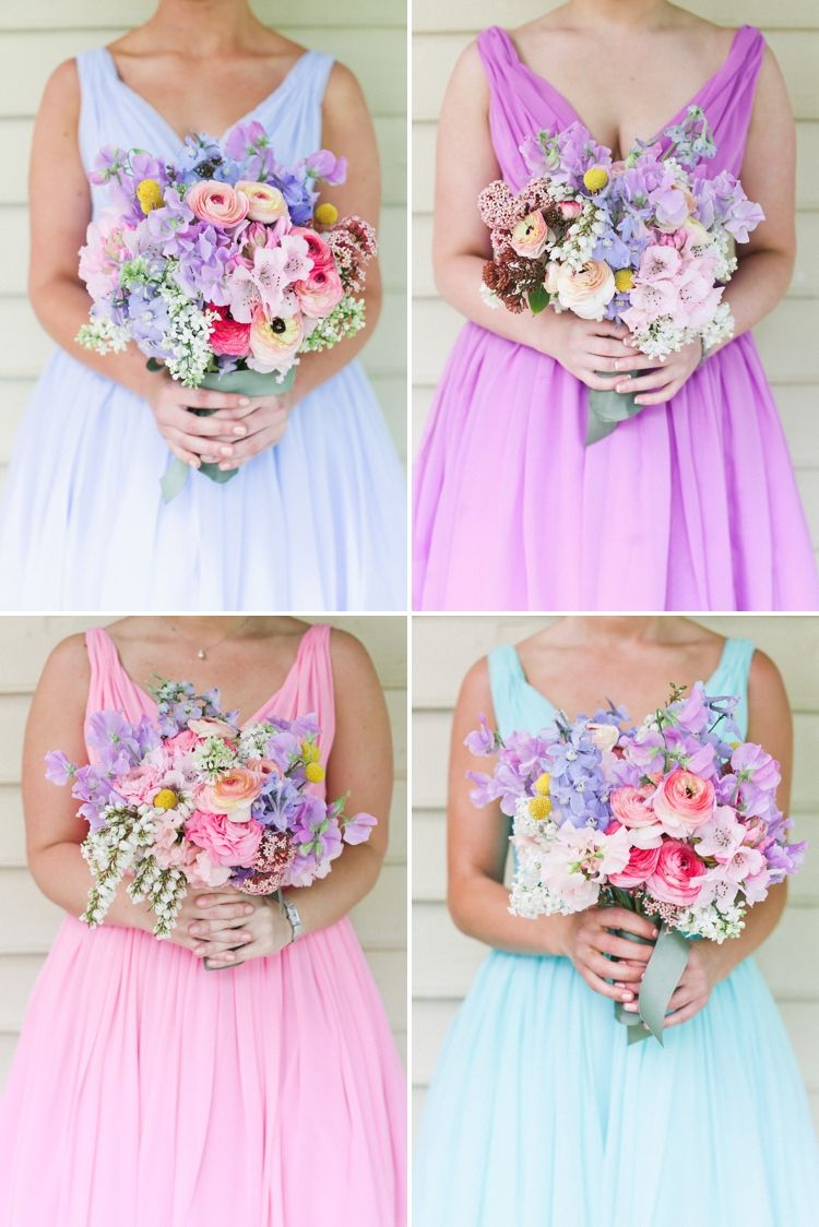 Soft beautiful pastel rainbow bridesmaid dresses and bouquets www ...