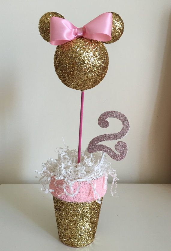 Pink and gold minnie mouse centerpiece by lovelbp on etsy
