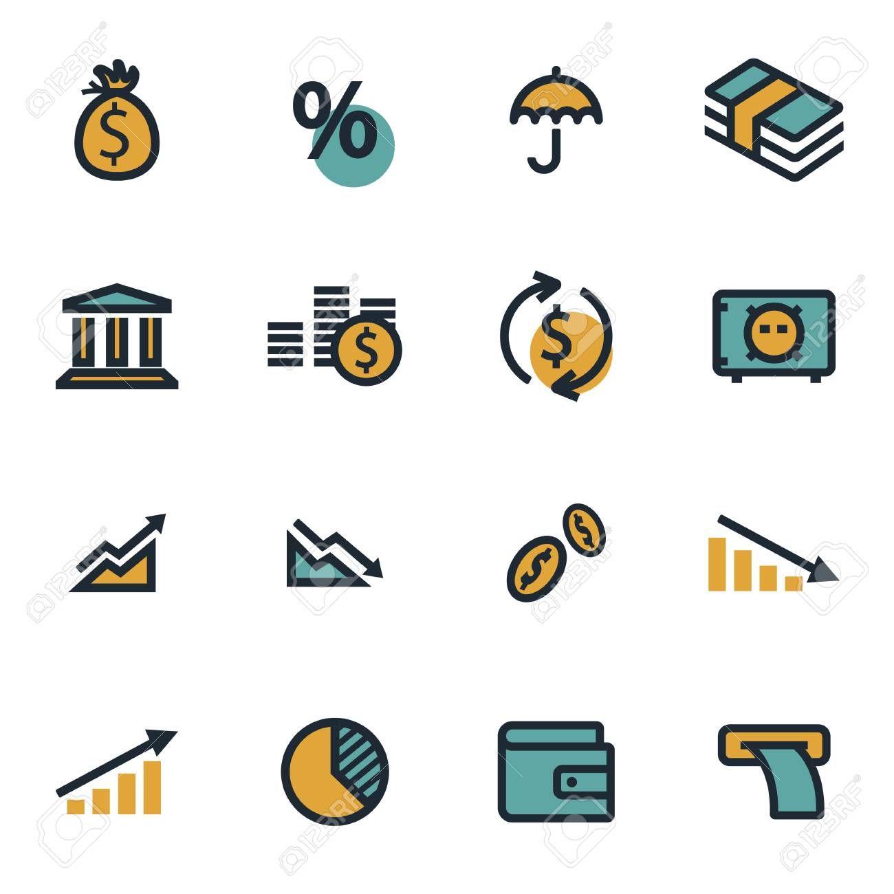 Vector Flat Economic Icons Set On White Background Illustration Sponsored Economic Icons Vector Flat Background Hinh Nền