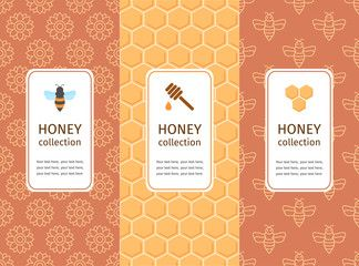 Honey Label Logo Sticker Design Elements Vector Packaging