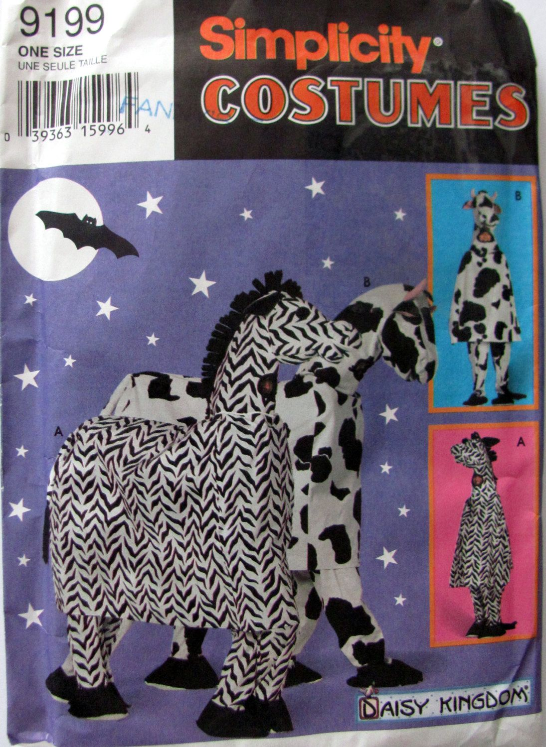 Simplicity 9199 Vintage One or Two Person Zebra and Cow Costume Sewing Pattern Adults Zebra or Cow Costume from 1993 & Simplicity 9199 Vintage One or Two Person Zebra and Cow Costume ...