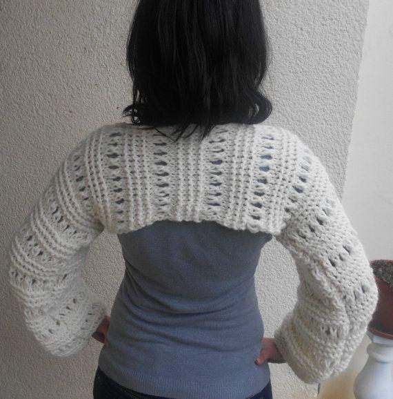 Punto al blanco recortado shrug del suéter /Stoney / sueltas knit ...