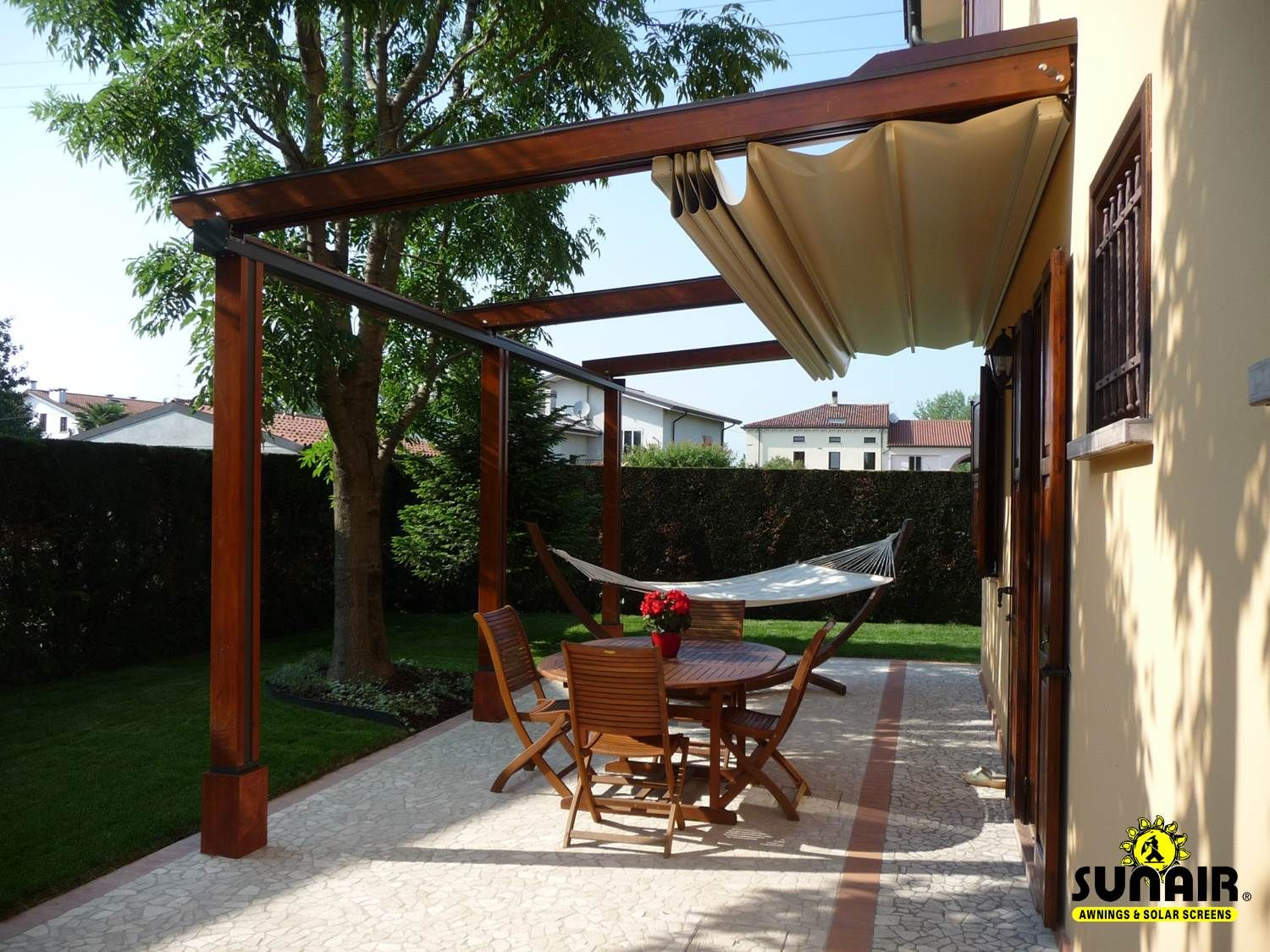 Retractable Pergola Awning Best Quality Design Red Cherry Lacquered Finish  Wooden Posts Crossbeams Rafters Metal Rails