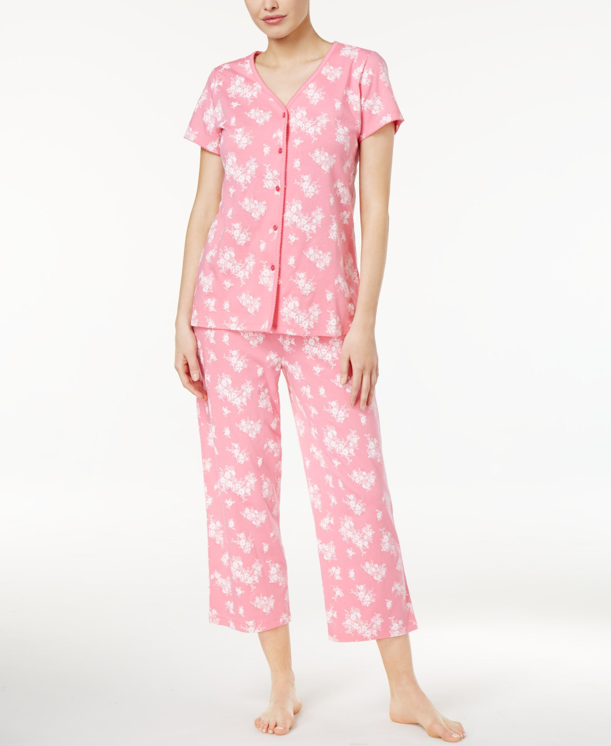 668df06bf349 Charter Club Cotton Floral-Print Pajama Set, Only at Macy's ...
