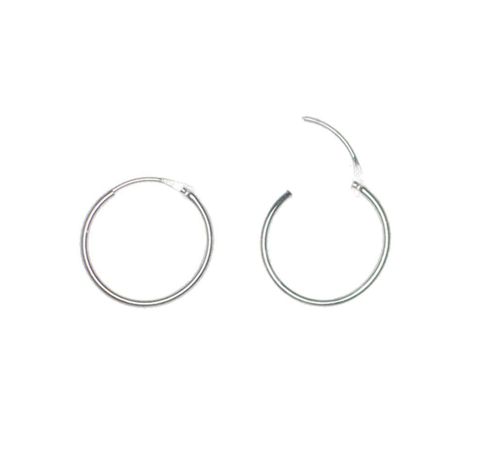 8f76c3164 14k White Gold EasyOn™ Hinged Thin Endless Hoop Earrings (1mm ...