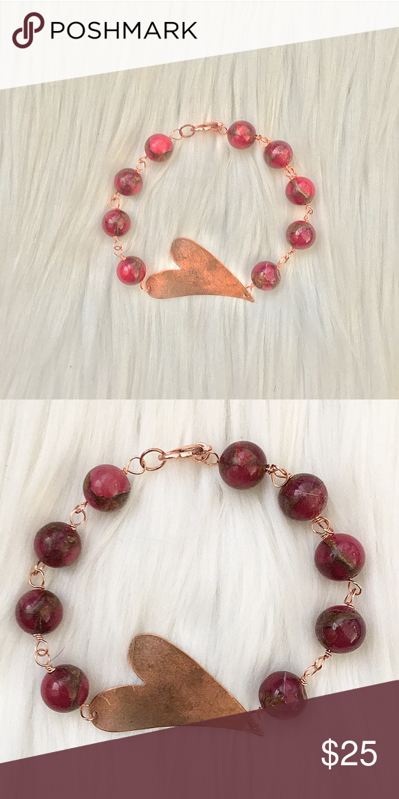 Handcrafted copper & pink agate heart bracelet | Pink agate, Agate ...