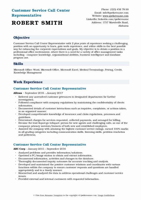 Call Center Customer Service Representative Resume Lovely Customer Service Call Center Representative Resume In 2020 Resume Objective Manager Resume Job Resume Samples