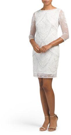 Beaded Illusion Sleeve Dress At TJ Maxx Affiliate Link Little - Tj Maxx Wedding Dress