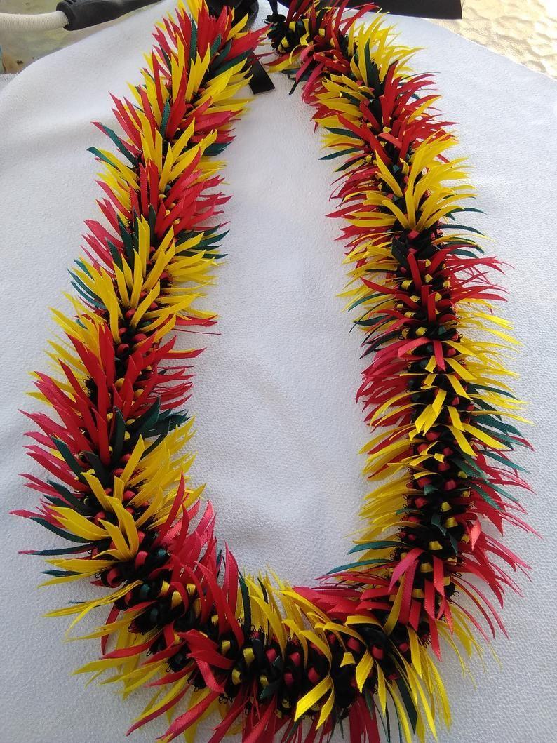 Hawaiian warrior ribbon lei Ribbon lei, Ribbon hair bows
