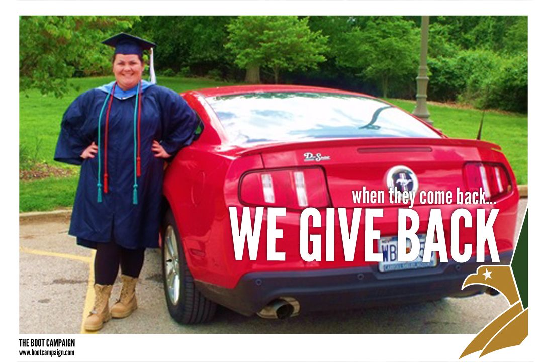 """""""I absolutely love what y'all do and I hope I can make a difference in the lives of veterans as well! The Boot Campaign has been a huge inspiration for me! As a sister to a current soldier let me say Thank You for supporting veterans and their families! I just recently graduate from Webster University and for graduation I put my boots on!"""" - Shelby"""