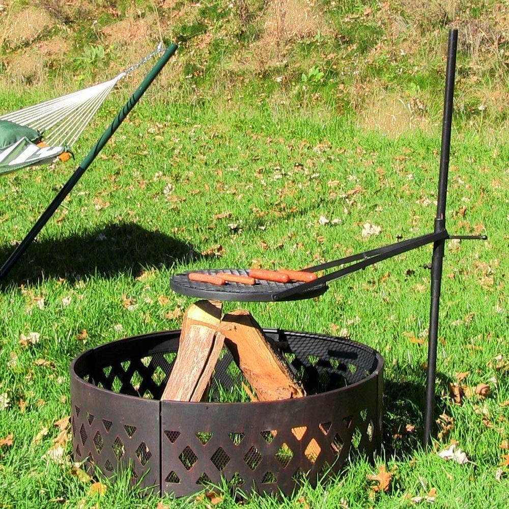 "18"" Outdoor Adjustable Barbeque BBQ Firepit Cooking"