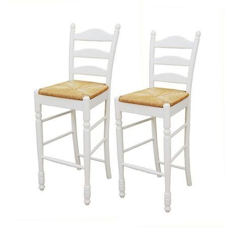 Ladder Back Rush Seat Bar Stools 30 Quot Set Of 2 Multiple Colors White Bar Stools Home Bar Furniture Bar Stool Cushions
