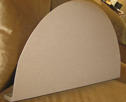 Crescent Shaped Board Fits Into The Arched Window Above Roman Blind