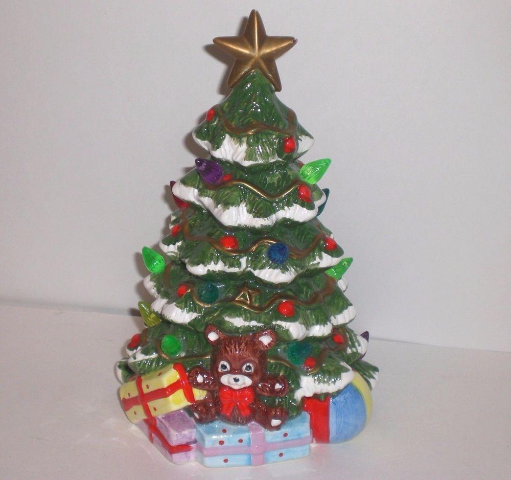 Vintage Miniature 85 Lighted Ceramic Christmas Tree W Bulbs Presents Star
