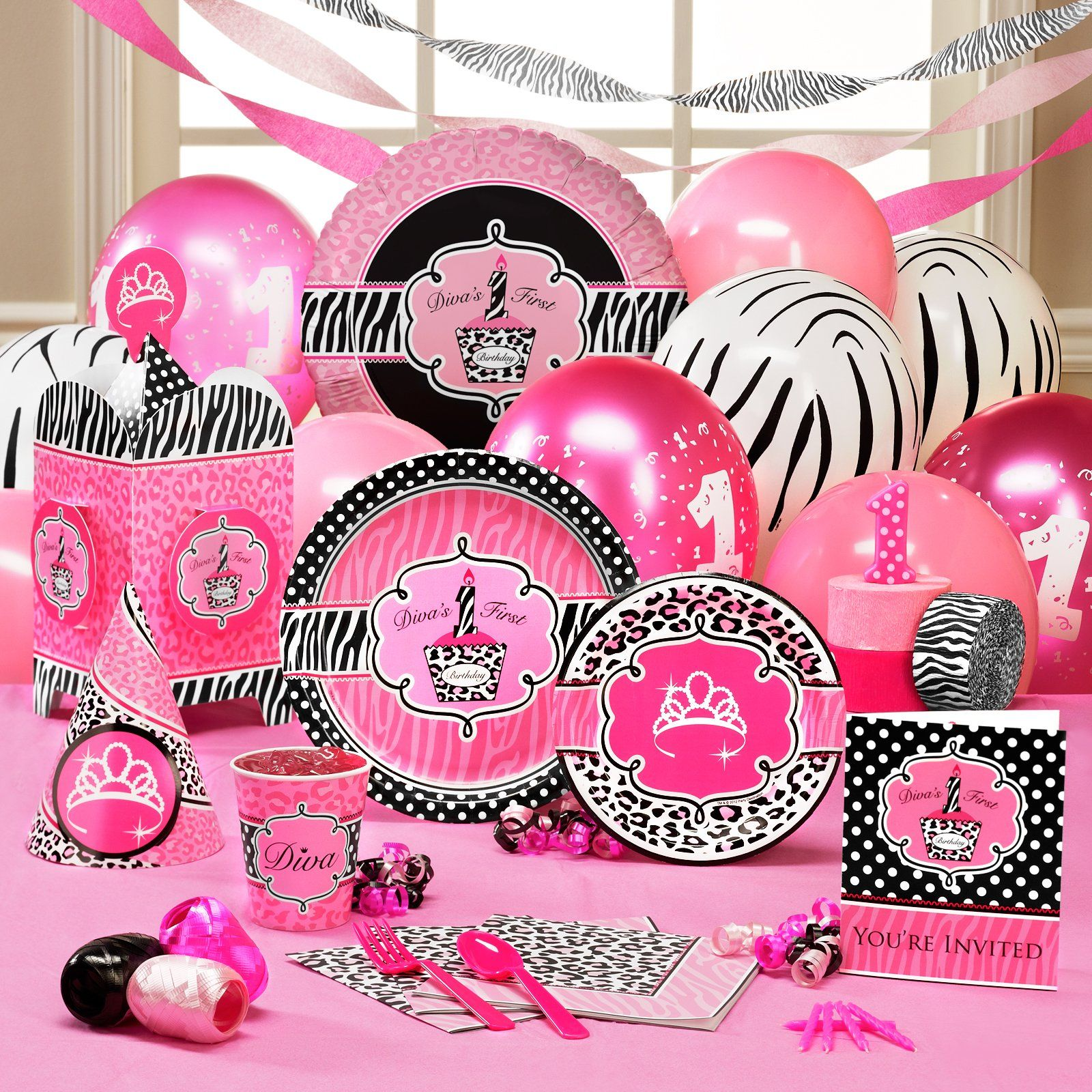 Ardyns party pack for her 1st bday I love the hot pink and zebra