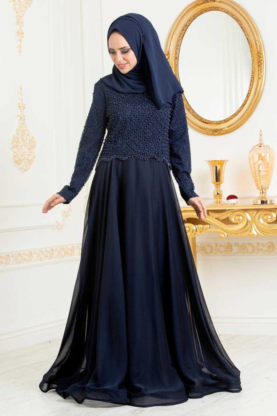 Boncuk Detayli Lacivert Tesettur Abiye Elbise 31260l Neva Style Com Aksamustu Giysileri Elbise The Dress