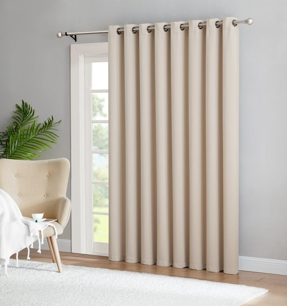 Warm home designs extra wide blackout 102 ivory patio door curtains
