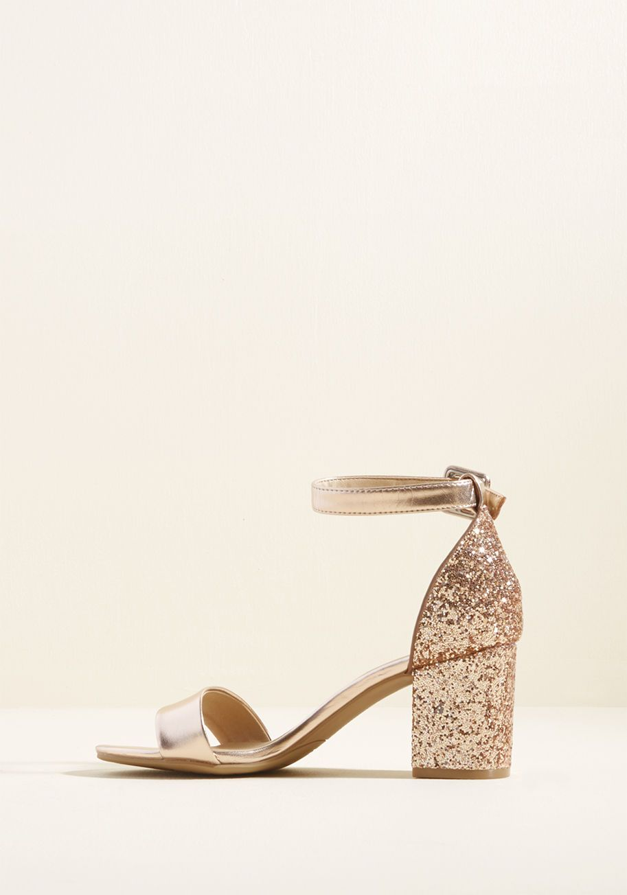 859019e7880 This rose gold block heel will make a sparkly statement at your wedding!