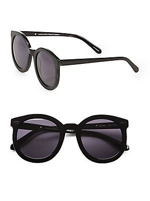 fac78ea56001 Karen Walker Super Duper Strength Oversized Round Sunglasses Black ...