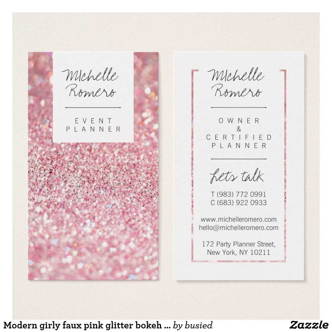 Modern Girly Faux Pink Glitter Bokeh Event Planner Business Card Zazzle Com Event Planner Business Card Party Planner Business Cards Party Planning Business