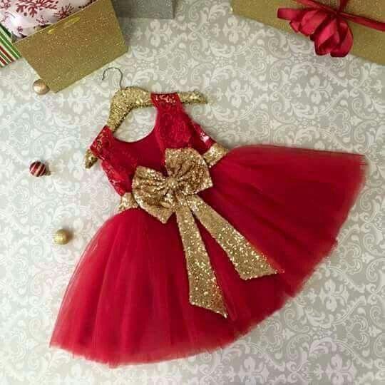 462976dc5 Rojo, dorado | little angle | Vestidos, Vestidos de niña bebé y Ropa ...