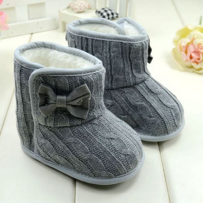 3ee008748f0a Nice Winter Grey Warm Knit Bowknot Faux Fleece Snow Boot Soft Sole Kids  Wool Newborn Baby Girl Shoes 3-18M -   - Buy it Now!