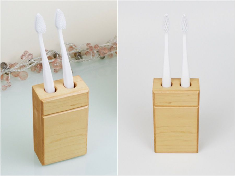Wooden toothbrush holder made from reclaimed wood
