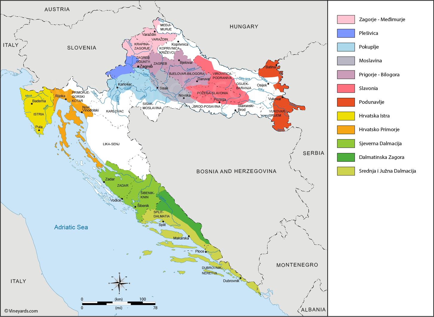 Wine regions map of Croatia (With images) Wine region