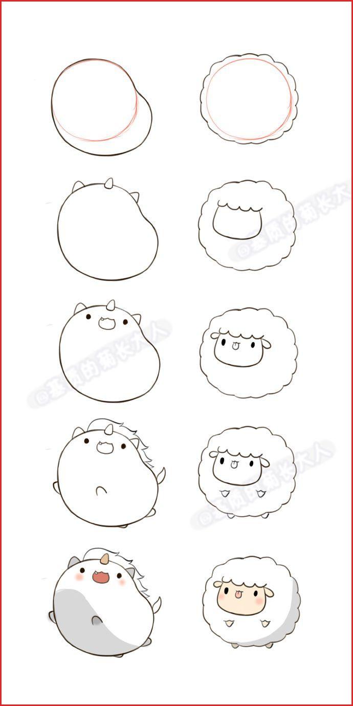 Easy Animal Drawings Step By Step 58627 Image Result For Cute Kawaii Christmas Animals Art Diy In 2020 Kawaii Drawings Cute Drawings Cute Easy Drawings