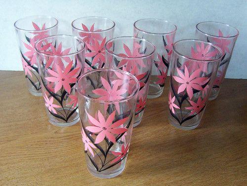 Set of 8 Vintage PINK & BLACK FLOWER DRINKING GLASSES Tumbler ATOMIC Mid Century | eBay